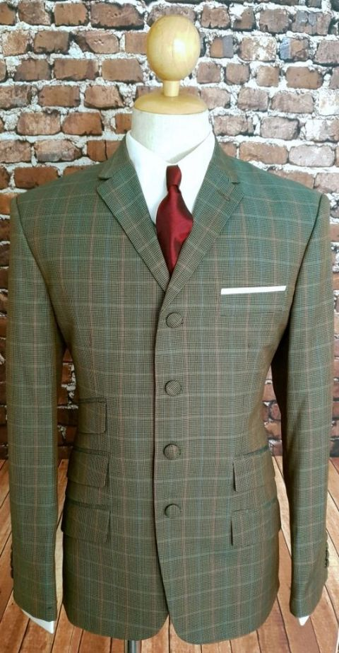 """Desmond"" Green Multi Check Four Button Suit"